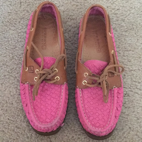 Pink Leather Sperrys 7.5